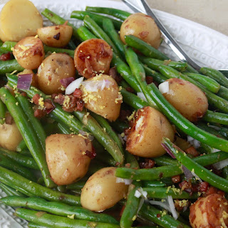 Potatoes, Green Beans, with Crispy Prosciutto & Spring Onions