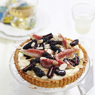 Almond and Mascarpone Tart with Fresh Figs and Blackberries.