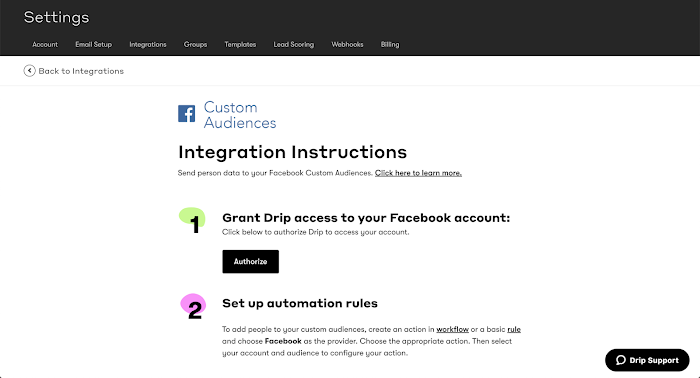 Facebook Integration Page in Drip