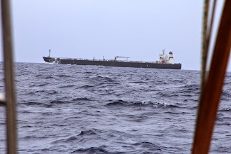 Photo: Huge ship passing just astern. It was the only one we saw between Bahamas and Bermuda.