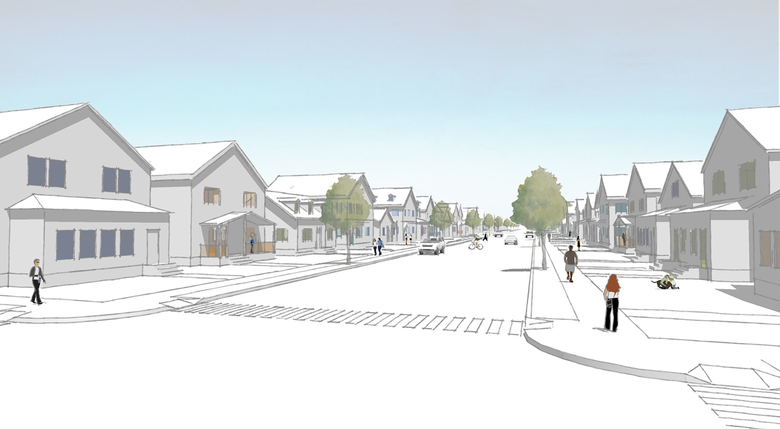 Rendering of street with one- and two-story buildings