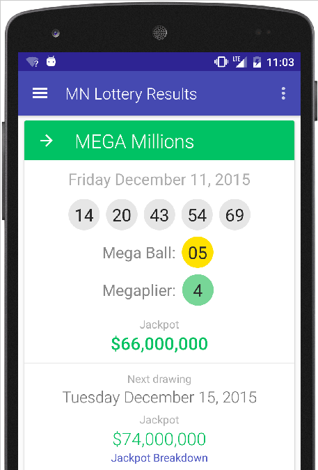 MN Lottery Results- screenshot