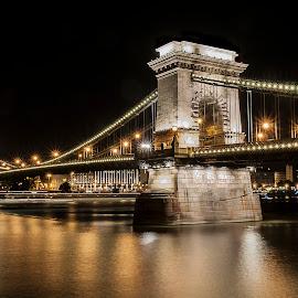 Chain bridge by night - Budapest by Luigi Alloni - Buildings & Architecture Bridges & Suspended Structures ( bridge river night lights budapest luigialloni )