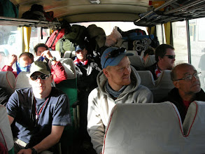 Photo: Guy, Erik and Italo seem to enjoy the busride from Nyalam to Tingri