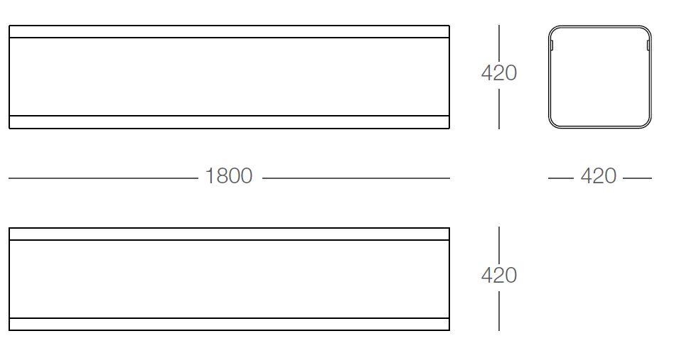 De technische tekening voor de Rua zitbanken Recht uit de collectie van Larus Design