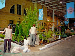 Photo: One of our most fun indoor show garden at the CNE (and our first and largest - 1900 sq. ft!). Many folk were fooled by the manequin worker. :-)