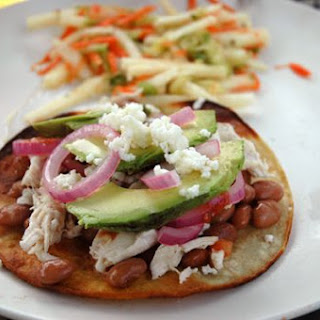 Poached Chicken Tostadas with Marinated Onions
