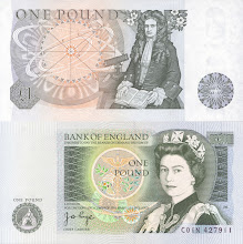 Photo: Sir Isaac Newton, 1 British Pound. Sir Isaac Newton, born in 1643 in England, is responsible single greatest advancement in the history of mathematical physics. His Principia virtually created physics: science jumped from alchemy to Newtonian mechanics and dynamics. He also made critical contributions to many fields of mathematics (esp. the calculus). This note is still legal currency although it has been out of print for some time. (For collectors: notice, on the reverse, that this note's serial number begins with the word 'coin').