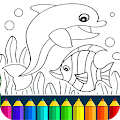 Dolphin and fish coloring book download