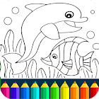 Dolphin and fish coloring book icon