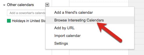 Browse Interesting Calendars link in Google Calendar