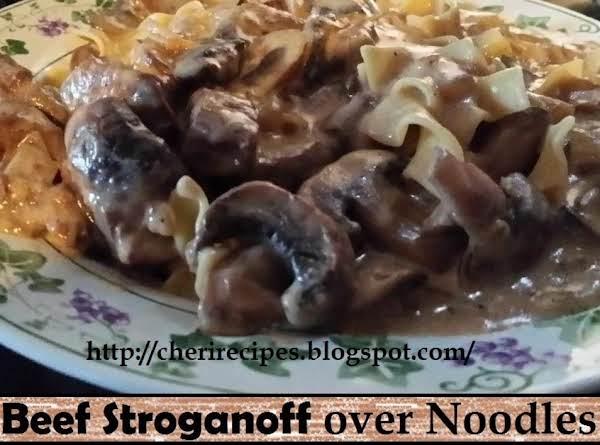 Beef Stroganoff Over Noodles Recipe
