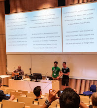 Photo: Highlight of the MPC workshop was the Rump Session song performance by Ivan Damgård, Claudio Orlandi, and Marcel Keller