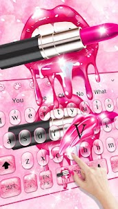 Glitter Pink Kiss Keyboard Theme 5