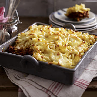 Beef Casserole with Macaroni and Cheese.