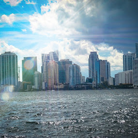Miami by Julie Quintana - City,  Street & Park  Skylines