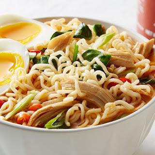 Easy Spicy Chicken Ramen Noodle Soup.