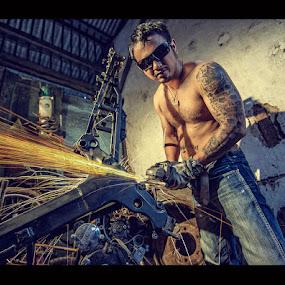 WORKHORSE#2 by Vantodes . - People Portraits of Men ( bicycle repair, grinder, man )