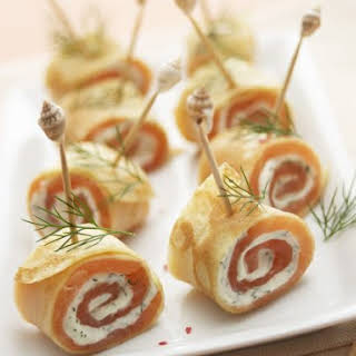 Salmon and Cream Cheese Crepe Rolls.
