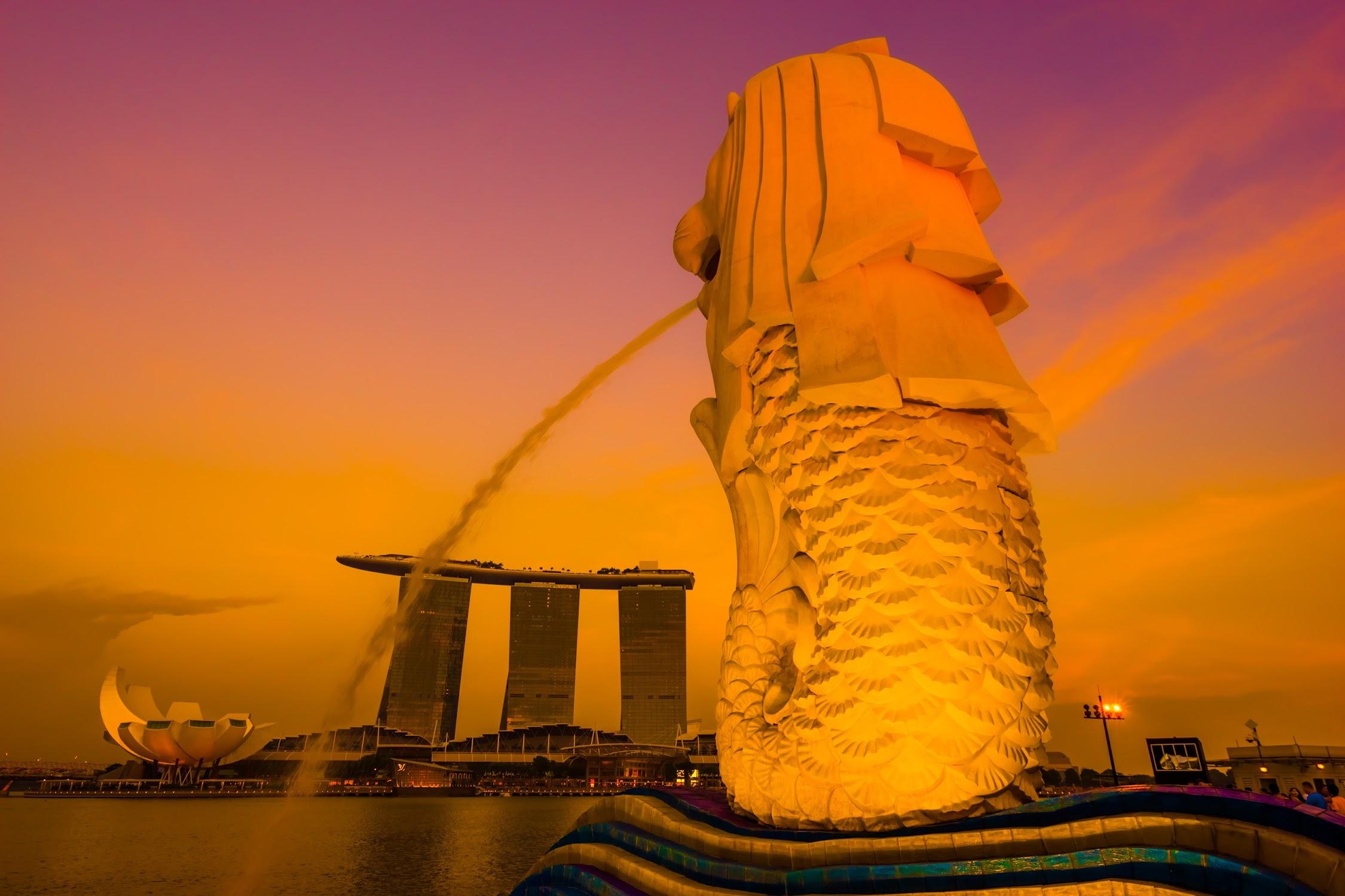 Singapore Merlion sunset6