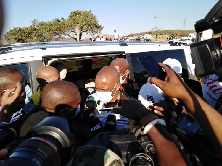 Ace Magashule arrives at former president Jacob Zuma's home in Nkandla.