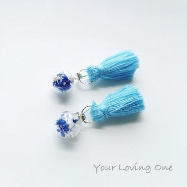 藍色流蘇耳環