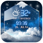 average temp &3D clock widget icon