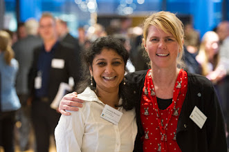 Photo: L-R: Sharmila Ramesh and Bonnie Dopheide, part of the team coordinated by Dr Steven Petratos (in background of photo). http://www.med.monash.edu.au/cecs/events/2015-tr-symposium.html