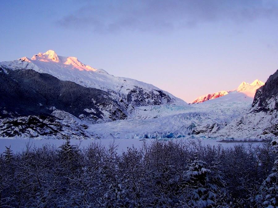 Juneau, Alaska- Mendenhall Glacier by Shanna Twomey - Landscapes Mountains & Hills ( mendenhall glacier, cold, sunset, alaska, snow, juneau )