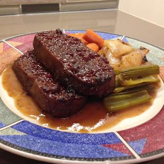 "Vegan Seitan ""brisket"" With Gravy And Roasted Vegetables"