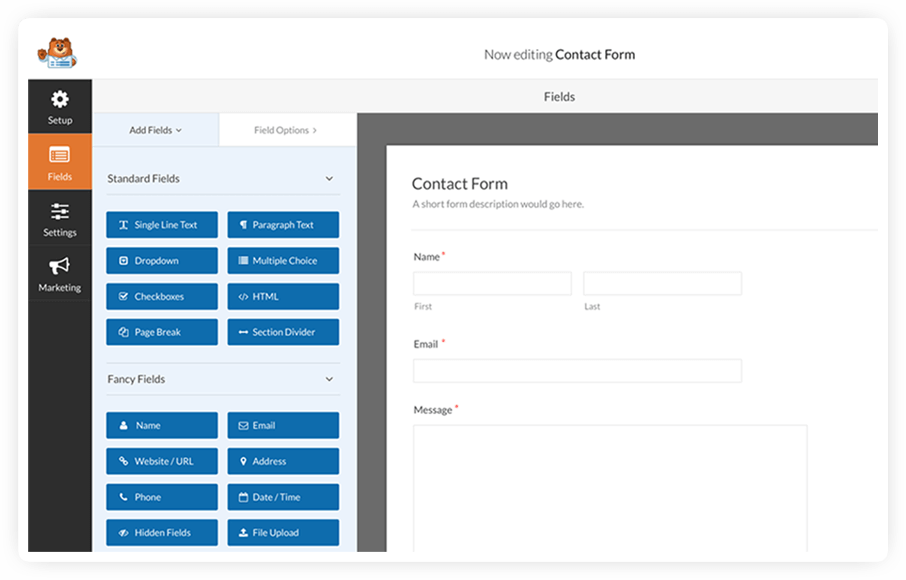 wp forms sample contact form