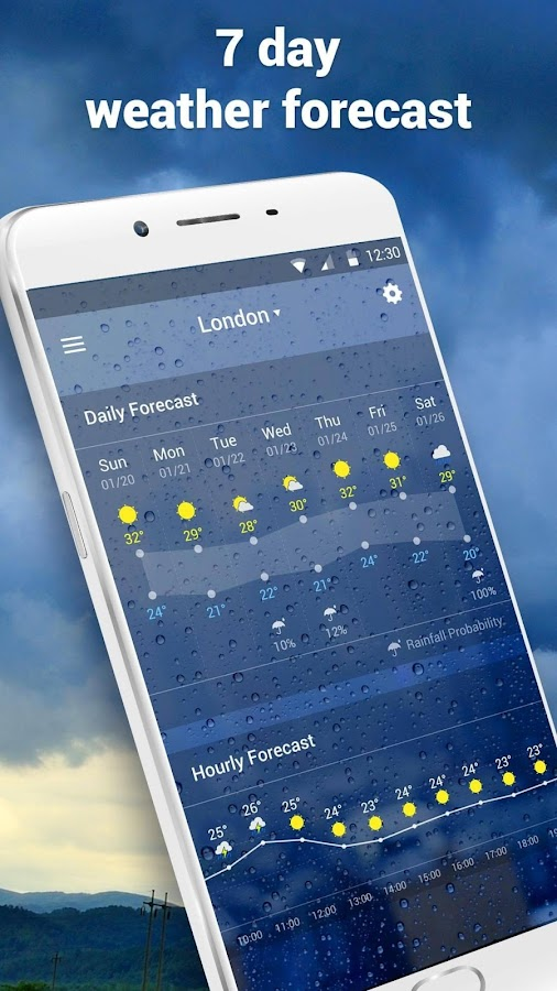 Clock &Weather widget daily forecast free- screenshot