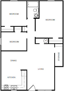 Go to Three Bedroom Upstairs Floorplan page.