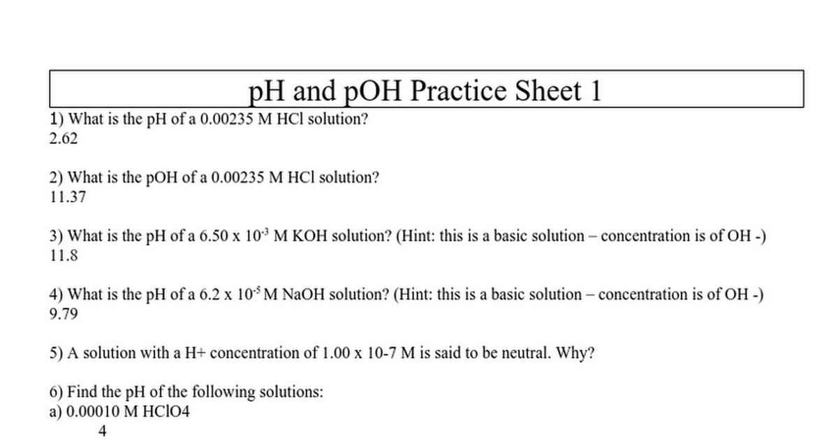 ph and pOH worksheet key.doc - Google Docs