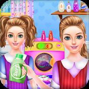 School Girls Weekend Home Washing Laundry games
