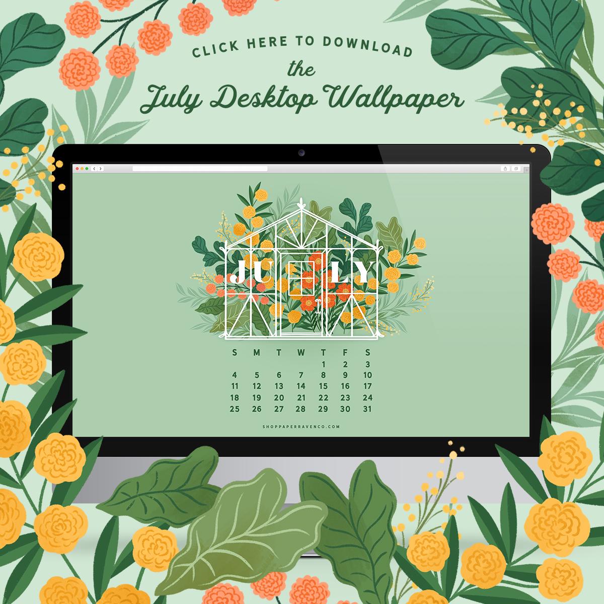 July 2021 Illustrated Desktop Wallpaper by Paper Raven Co. #dressyourtech #desktopwallpaper #desktopdownload
