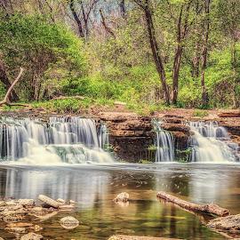 Waterfall Glen Waterfalls by Lynn Kirchhoff - Landscapes Waterscapes ( spring, forest, rocks, creek, waterfall, long exposure, water, milky,  )
