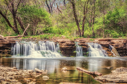 Waterfall Glen Waterfalls by Lynn Kirchhoff - Landscapes Waterscapes ( spring, forest, rocks, creek, waterfall, long exposure, water, milky,  )