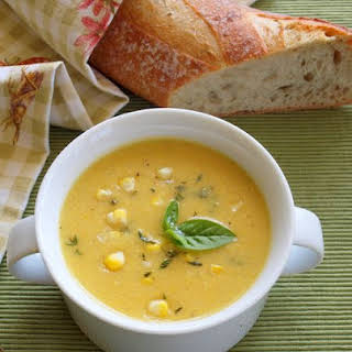Summer Corn Soup with Fresh Herbs.