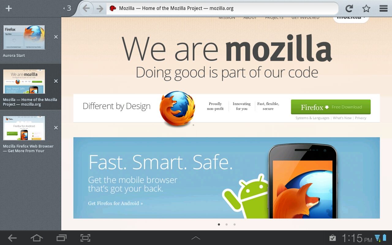 Firefox for Android Beta Updates Look for Tablets - Future