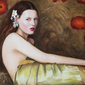 Woman with flowers for all season by Jocelyne Maucotel - Painting All Painting ( female, femme, peintures, portrait )