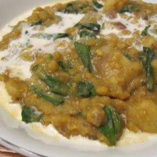 Lentils, Potatoes, and Spinach With Curried Tarka