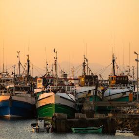 Gansbay Harbor by Dawie Nolte - Transportation Boats ( harbor, sunset, boats, fishers, sea,  )