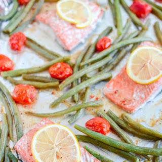 Sheet Pan Italian Salmon and Green Beans.