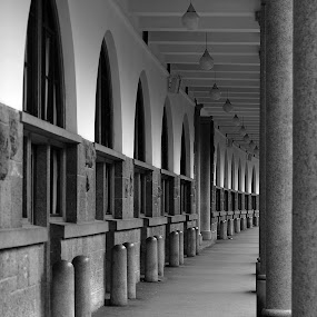 Aisle by Matevz Skerget - Black & White Buildings & Architecture ( b&w, aisle, architecture, gangway, infinity )