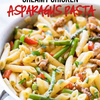 Creamy Chicken Asparagus Penne Pasta.
