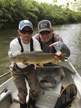 Photo: Lots of calls about the condition of the Mad today. Perfect streamer water and more rain tonight will make it even better. Here's Don Gregory from earlier today with guide Pat Kelly.