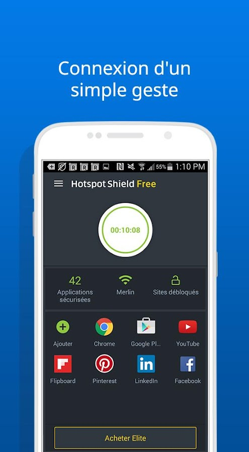 VPN Hotspot Shield Gratuit – Capture d'écran