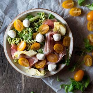 Pesto Pasta Salad with Artichokes, Proscuitto and Mozzarella.