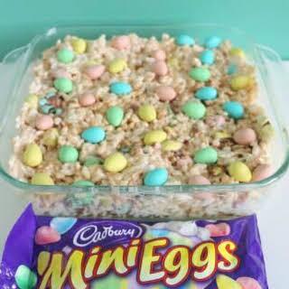Mini Eggs Rice Krispies Squares.